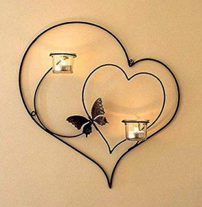 Craftvatika fer décoratifs double Applique murale en forme de cœur à suspendre pour bougies photophores Home Arts mariages événements Décor de la marque CraftVatika image 0 produit
