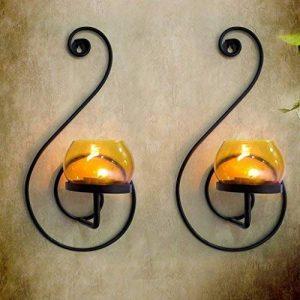 Craftvatika Paire de 2fer Noir Applique murale pour bougie | à suspendre bougeoirs moderne d'éclairage Décor Décorations de Noël | | de la marque CraftVatika image 0 produit
