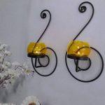 Craftvatika Paire de 2fer Noir Applique murale pour bougie | à suspendre bougeoirs moderne d'éclairage Décor Décorations de Noël | | de la marque CraftVatika image 1 produit