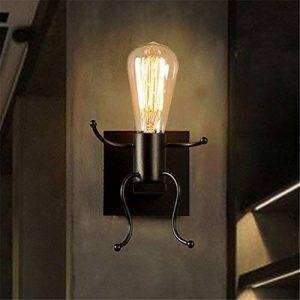 Créatif Industriel Rétro Lampe Applique Murale Métal Noir, Culot E27 220V, Lampe de Mur Éclairage Décoration pr Maison Bar Restaurants Café de la marque AZX image 0 produit