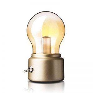 Créative Ampoule Bulb Rétro USB Rechargeable Sans Fil Led Lumière Blanche Chaude 2W/ Mini Lampe de Table / Lampe de Chevet / Lampe Portable Vintage ( douille doré) de la marque AZX image 0 produit