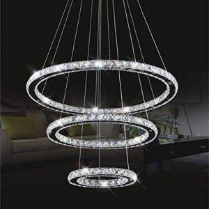 Cristal deckenleuchte, topmax Suspension LED 30* 50* 70cm 3anneaux cristal Chromé Blanc froid a + de la marque TENLION image 0 produit