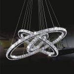 Cristal deckenleuchte, topmax Suspension LED 30* 50* 70cm 3anneaux cristal Chromé Blanc froid a + de la marque TENLION image 3 produit