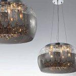 Cristal LED plafonnier suspension lampe lustre pendentif éclairage lumière abat-jour verre salle à manger désign moderne Ø 40cm 5xG9 douille de la marque Lewima image 4 produit