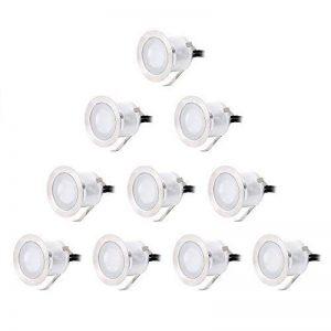 CroLED® 10x Lampe de Spot A LED pour Terrasse Enterré Plafonnier - En Aluminium 0.6W IP67 DC12V Blanc Etanche Avec Alimentation EU - Lampe Extérieur Déco Pour Chemin Escalier Piscine Lampe Sécurité de la marque CroLED image 0 produit