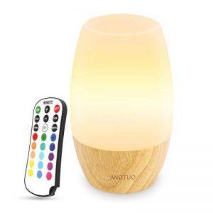 DanoltVeilleuse LED, Lampe de chevet pour la chambre à coucher et le Salon, Abat-jour en silicone souple, Base de bois dur, 4 choix de luminosité et 16 couleurs, Contrôle à distance, Prise EU. de la marque Danolt image 0 produit