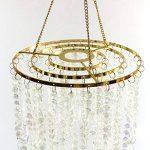 Dehomy Lustre plafonnier à 3niveaux avec perles étincelantes en acrylique et cadre chromé, 32cm de diamètre , transparent, Métal, doré, 33 de la marque Dehomy image 3 produit