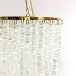 Dehomy Lustre plafonnier à 3niveaux avec perles étincelantes en acrylique et cadre chromé, 32cm de diamètre , transparent, Métal, doré, 33 de la marque Dehomy image 4 produit