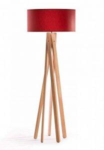 Design Lampe sur pied trépied avec abat-jour en tissu haute qualité en rouge et trépied/structure en bois (Hêtre) | H = 160cm | Lampadaire | Applique faite main de la marque DL-designerlampen image 0 produit