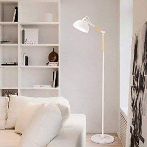 Diolumia - Lampadaire de lecture Sandrine Moderne blanc - Métal bois marbre - Abat-jour demi-sphère - Hauteur réglable pour salon chambre cuisine bureau de la marque Diolumia image 0 produit