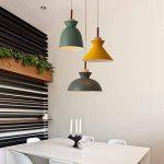 Diolumia - Suspension design dôme grise en alu style moderne D28*H21cm - Suspension ampoule E27 pour cuisine salle à manger chambre couloir de la marque Diolumia image 4 produit