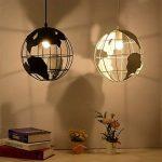 Diolumia - Suspension design globe terrestre métal noir - Diamètre 30cm - Suspension moderne douille E27 pour cuisine salle à manger chambre couloir etc de la marque Diolumia image 2 produit