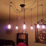 Douille Rétro abat-jour Suspensions Vintage ajustable Rétro Lustre plafond Lampe(E27) Dining Hall Chambre Hôtel 6 Bras (Ampoule NON INCLUS) de la marque ChicDécoré image 4 produit