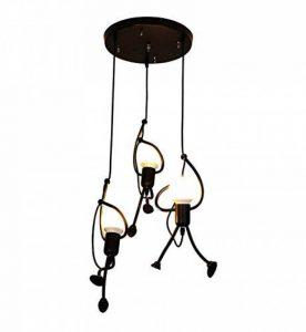 E27 Lampe Suspension - Humanoïde Lampes de Plafond - Hauteur réglable - Luminaire suspendu vintage Pour le salon salle à manger bar cafétéria (3 Tête Plateau rond) de la marque TANG SHI® image 0 produit