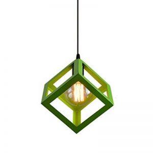 E27 Lustre Suspension industrielle Contemporain forme Cube Carré, Lampe de Plafond en Métal Fer Abat-Jour Luminaire, Vert de la marque STOEX image 0 produit