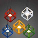 E27 Lustre Suspension industrielle Contemporain forme Cube Carré, Lampe de Plafond en Métal Fer Abat-Jour Luminaire, Vert de la marque STOEX image 1 produit