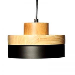 E27 Métal Vintage Suspensions Luminaires Lamps Antique Plafonnier Luminaire Lumiere Industriel Retro Suspensions Lumiere Lampe LED Aluminium Plafond Lustre Metal et Bois Luminaire éclairage Plafonnier Lustre Lampe (Noire) de la marque Chrasy image 0 produit