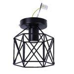 E27 Screw-on 40W Industrial DIY Metal Ceiling Lamp Suspensions Plafonnier Abat-jour Lustre avec Douille Applique d'Eclairage Murale Retro Industriel Lustre fer forge Suspension industrielle Cage Plafonnier Lustre Lampe de plafond métallique simple en fer image 1 produit