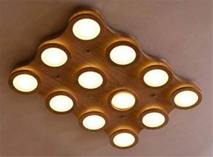 Eeayyygch Lustre en Bois Lampe Suspension Lustre élégant Home Nature Decor, L60 * W60 * H10cm, L82 * W60 * H10cm, 9 têtes (coloré : -, Taille : 12 Head) de la marque Eeayyygch image 0 produit