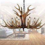 EFFORTINC Antlers vintage resin 6 light chandeliers, American rural countryside antler chandeliers,Living room,Bar,Cafe, Dining room deer horn chandeliers de la marque EFFORTINC image 2 produit