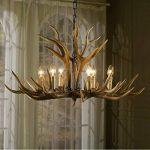 EFFORTINC Antlers vintage resin 6 light chandeliers, American rural countryside antler chandeliers,Living room,Bar,Cafe, Dining room deer horn chandeliers de la marque EFFORTINC image 3 produit