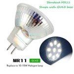Ei-Home 5733-9SMD MR11 Ampoules LED, AC / DC 10-30V Ampoule d'éclairage, remplacer la lampe halogène, 35X35mm, GU4.0 Base LED Spotlight pour la maison, paysage, encastré, éclairage sur rail, blanc chaud, lot de 6 de la marque Ei-Home image 1 produit