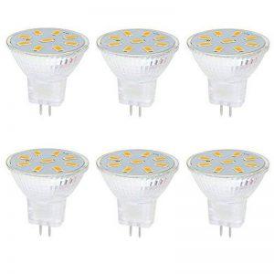 Ei-Home 5733-9SMD MR11 Ampoules LED, AC / DC 10-30V Ampoule d'éclairage, remplacer la lampe halogène, 35X35mm, GU4.0 Base LED Spotlight pour la maison, paysage, encastré, éclairage sur rail, Blanc chaud , lot de 6 de la marque Ei-Home image 0 produit