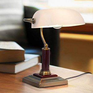 Elégante lampe de banquier, lampe de bureau, avec pied en bois, 1x E27 max. 60W, métal / bois / verre / laiton antique de la marque Lightbox image 0 produit