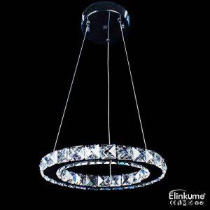 ELINKUME Bagues de ? 30cm LED Lustre de cristal, lampes suspendues bricolage, cable longueur r¨¦glable (19W Blanc) de la marque ELINKUME image 0 produit
