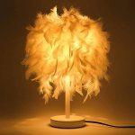 ELINKUME® Plumes Lampes de chevet, Abat-jour élégant de plume et corps léger en métal, commutateur de bouton de support de E27, éclairage unique décoratif, lampe de table créatrice de mode de la marque ELINKUME image 2 produit