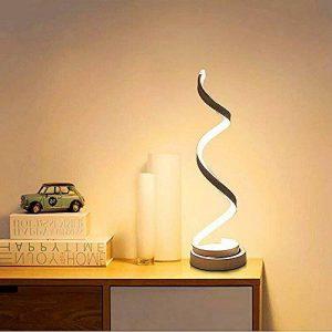 ELINKUME spirale LED lampe de table, incurvée lampe de bureau LED, design minimaliste moderne, 12W lumière blanc chaud, creative acrylique LED lampe de modélisation parfaite pour chambre à coucher salon (blanc) de la marque ELINKUME image 0 produit