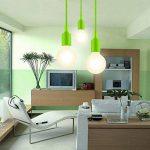ENUOTEK Lampe Suspension Luminaire Suspendu Vert avec Douille E27 pour Cuisine Salon Salle à Manger Longueur Reglable Longueur Maximale 155CM de la marque ENUOTEK image 4 produit
