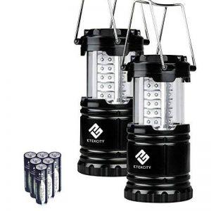 Etekcity Lot de 2 LED Lanterne de Camping Pliable Lampe Ultra-lumineuse, Basse Consommation Energétique, Poignées Ajustables, Randonnées, Activités Extérieures, Piles Fournies, Noir de la marque Etekcity image 0 produit