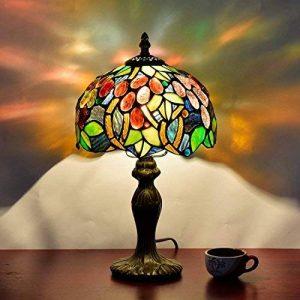 EuSolis Tiffany Lampes de chevet et de table Fleurs artisanales à 8 pouces Vitrail E27 Lampes de chevet de luxe 01 de la marque EuSolis image 0 produit