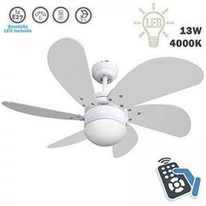 FABRILAMP Ventilateur de plafond avec lampe LED Série Delfin 13W 4 000K Avec télécommande Couleur Blanc de la marque FABRILAMP image 0 produit