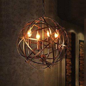 FGHOME Industriel Vintage Rustique En Fer Forgé Style Vieilli Bougie En Laiton Lustre Globe Ombre Pendentif Lumière Luminaire Suspendu avec 4 lumières de la marque FGHOME image 0 produit