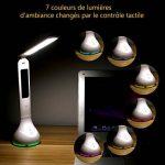 Fitfirst Lampe De Bureau LED 3 Modes De Luminosité, 7 Couleurs De La Base, Lumière Réglables Avec Contrôle Tactile, Chargeur USB Et Fonction Réveil,Lampe De Lecture Pliante 180°(Avec Écran LCD) de la marque Fitfirst image 4 produit