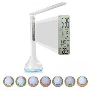 Fitfirst Lampe De Bureau LED 3 Modes De Luminosité, 7 Couleurs De La Base, Lumière Réglables Avec Contrôle Tactile, Chargeur USB Et Fonction Réveil,Lampe De Lecture Pliante 180°(Avec Écran LCD) de la marque Fitfirst image 0 produit