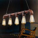 Fuloon Luminaire de Suspension 5 Edisons Lustre Rétro en Bronze Tuyau en Métal Finition Vintage Lampe d'Atmosphère Pour Café Bar de la marque Fuloon image 2 produit