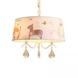GAOYU Plafonnier de lustre de Chambre des enfants, abat-jour de tissu blanc, lustres décoratifs en bois de cheval de créateur, lumières pendantes de jardin d'enfants de salon et Mdash; de la marque GAOYU image 0 produit
