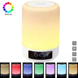 GB-Lun Lampe de Chevet Enceinte tactile Portable Bluetooth Haut-Parleur Réveil Alarme Horloge, Support TF Carte, USB, Bluetooth, Mains libres fonction de temporisation, Aux avec 7 Couleur 3 Mode de Lumière Pour Famille Bureau Enfants Accueil Déco Travaux image 0 produit