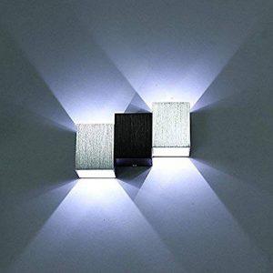 Glighone Applique Murale Spot LED 6W Intérieur Moderne Carré Cube Up Down en Aluminium Eclairage Désigne Original pour Chambre Bureau Couloir Salon Hôtel Restaurant Bar Blanc Froid de la marque Lightess image 0 produit