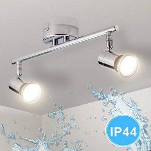 Gr4tec Plafonnier LED orientable avec 2 ampoules impermeable IP44 GU10 4W 400Lm Blanc chaud Equivalent 35W Lampe Lampe de plafond applique murale Convient pour Salle de bain Séjour chambre En métal de la marque Gr4tec image 0 produit