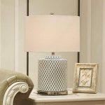 Grille en céramique lampe de table E27 minimaliste art salon chambre lampe de chevet, base en métal chromé, abat-jour en lin blanc de la marque HALORI image 3 produit