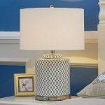 Grille en céramique lampe de table E27 minimaliste art salon chambre lampe de chevet, base en métal chromé, abat-jour en lin blanc de la marque HALORI image 4 produit