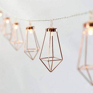Guirlande Lumineuse Décorative Style Scandinave - 10 Mini Lanternes Métal Couleur Cuivre Éclairage LED Blanc Chaud sur Câble Transparent Flexible à Piles On/Off Auto - 1,80 Mètre de la marque Festive Lights image 0 produit