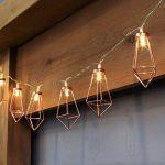 Guirlande Lumineuse Décorative Style Scandinave - 10 Mini Lanternes Métal Couleur Cuivre Éclairage LED Blanc Chaud sur Câble Transparent Flexible à Piles On/Off Auto - 1,80 Mètre de la marque Festive Lights image 2 produit