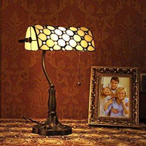 Gweat Tiffany 10 Pouce Style Rétro Jeweled Banquier Lampe De Table de la marque Gweat Tiffany image 0 produit