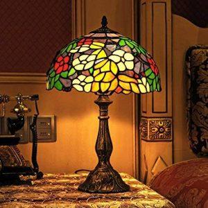 Gweat Tiffany 12-Pouce Style Pastoral Vitrail Coloré Floral Lampe De Table Lampe De Chevet de la marque Gweat Tiffany image 0 produit
