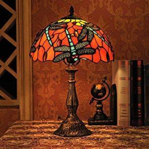 Gweat Tiffany 12 Pouces Vintage Style Européenne Vitrail Dragonfly Et Perle Chaud Coloré Série Lampe De Lampe De Tablee De Bureau Lampe De Chevet de la marque Gweat Tiffany image 0 produit